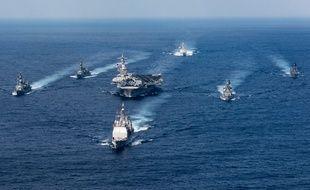 Le porte-avions USS Carl Vinson et sa flotte, le 28 mars 2017.