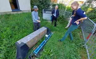 Un des deux dispositifs de mesures d'impact environnemental des peintures urbaines à Schiltigheim.