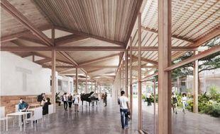 Image de synthèse de la promenade en bois qui entourera les bâtiments du Grand T.