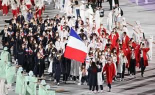 La délégation française lors de la cérémonie d'ouverture des JO de Tokyo.
