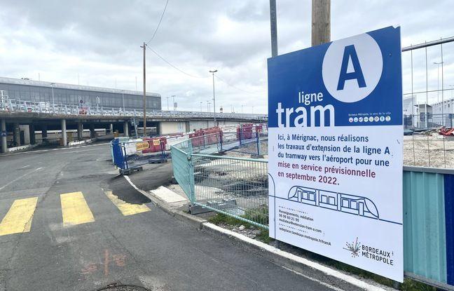 Les parvis de l'aéroport de Bordeaux sont en travaux en vue de l'arrivée du tramway pour fin 2022