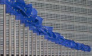 Drapeau européens au siège de la commission européenne, à Bruxelles