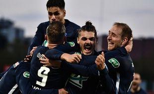 Les joueurs de Rumilly Vallieres, le 20 avril 2021, à la fin du match gagné contre Toulouse, synonyme de qualification pour les demi-finales de la Coupe de France.