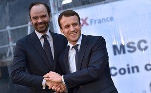 Edouard Philippe et Emmanuel macron, le 1er février 2016, à Saint-Nazaire.