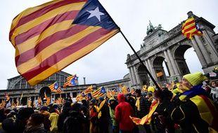 Manifestation d'indépendantistes catalans, le 7 décembre 2018 en Belgique.