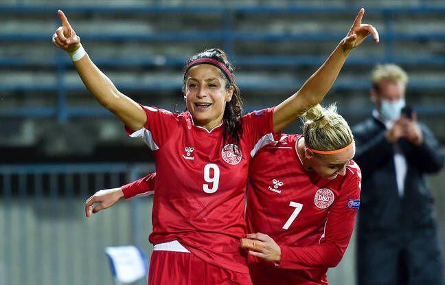 Buteuse lors d'un match de qualification pour l'Euro 2022, en octobre 2020 en Italie, Nadia Nadim est l'une des joueuses majeures du Danemark, avec qui elle a même marqué en finale de l'Euro 2017 contre les Pays-Bas (2-4). Andrea Staccioli