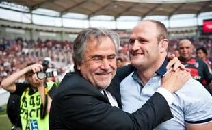 Jean-René Bouscatel, le président du Stade Toulousain, et William Servat, le 12 mai 2012 au Stadium de Toulouse.