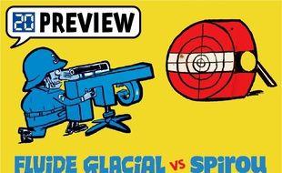 Illustration de la guerre pour de rire entre Fluide Glacial et Spirou magazine