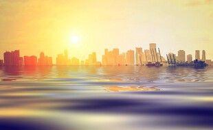 Une vision d'artiste de la ville de Miami (États-Unis) les pieds dans l'eau… Cette métropole est l'une plus exposées aux risques de submersion