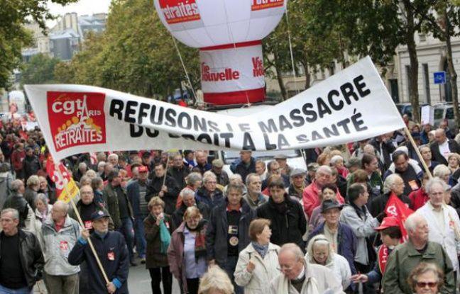 Manifestation de retraités pour le maintien de leur pouvoir d'achat, le 16 octobre 2009 à Paris