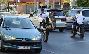 Rodéo en moto en région parisienne (illustration)