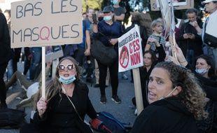 Illustration de manifestants anti-masques le 14 novembre 2020 à Nice.