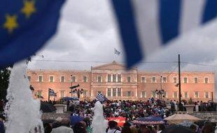 Manifestation pro-Europe, pour le oui au référendum, le 30 juin 2015 à Athènes