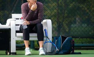 Maria Sharapova lors d'un entraînement à Tianjin, le 14 octobre 2017.