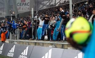 Les supporters de l'OM lors de la défaite contre Rennes au Vélodrome, le 18 mars 2016.