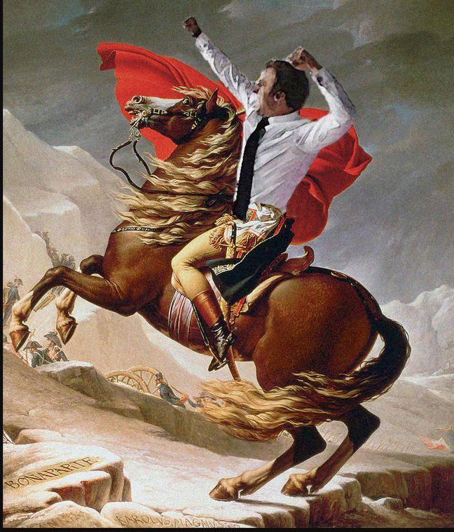 Une parodie du tableau Napoléon franchissant les Alples (Delaroche) sur Reddit.