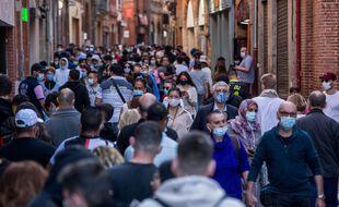 Dans le centre ville de Toulouse en période de crise sanitaire.