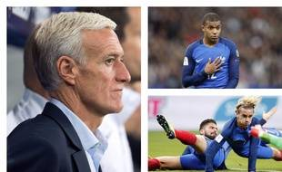 Didier Deschamps, Kylian Mbappé, Antoine Griezmann et Olivier Giroud lors de la victoire des Bleus contre la Biélorussie, le 10 octobre 2017 au Stade de France.