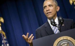 Le président américain Barack Obama à la Maison Blanche, le 18 février 2015 à Washington DC