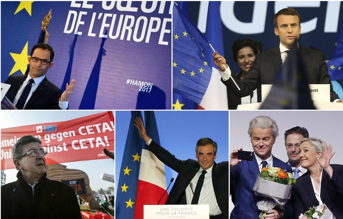 Benoît Hamon, Emmanuel Macron, Jean-Luc Mélenchon, François Fillon et Marine Le Pen. Montage 20 Minutes. – GABRIEL BOUYS / AFP  //  David Vincent/AP/SIPA // Jean-Francois Badias/AP/SIPA // Michel Spingler/AP/SIPA // Michael Probst/AP/SIPA