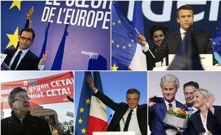 Benoît Hamon, Emmanuel Macron, Jean-Luc Mélenchon, François Fillon et Marine Le Pen. Montage 20 Minutes.