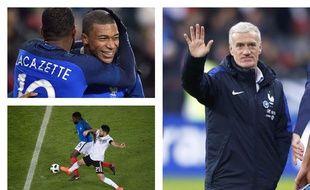 L'attaque avec Mbappé et Lacazette, la défense avec Umtiti, Didier Deschamps a de quoi être content après le match nul de la France en Allemagne, le 14 novembre 2017 à Cologne.