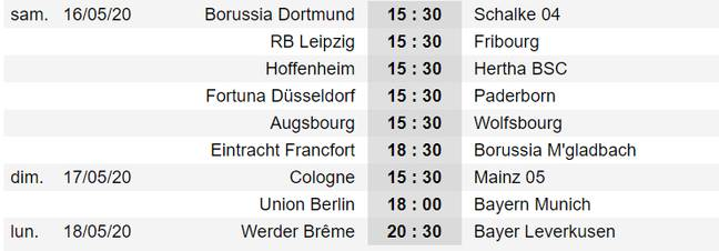 Le calendrier de la 26e journée de Bundesliga