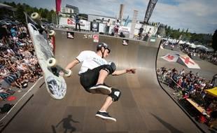 Strasbourg le 25 mai 2014. Epreuves de skate, de roller, de BMX pendant le Nl contest de Strasbourg a la Rotonde. Glisse urbaine