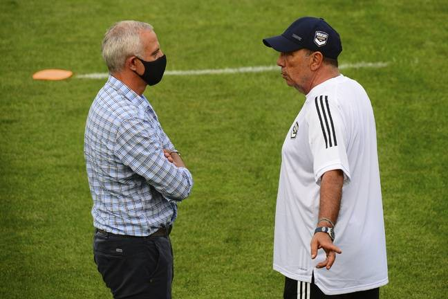 Alain Roche avec Jean-Louis Gasset, l'entraîneur des Girondins.