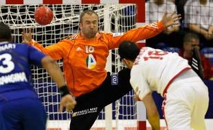 Thierry Omeyer lors du premier match de l'équipe de France face à l'Espagne lors de l'Euro 2012 de handball, à Novi Sad, le 16 janvier 2012.