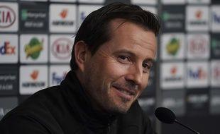 Julien Stéphan, le coach du Stade Rennais, en conférence de presse avant le 8e de finale de Ligue Europa face à Arsenal, le 6 mars 2019.