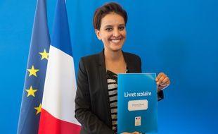 Najat Vallaud-Belkacem, le 30/09/2015 lors de la présentation de sa réforme de l'évaluation. Credit:WITT/SIPA/1509301348