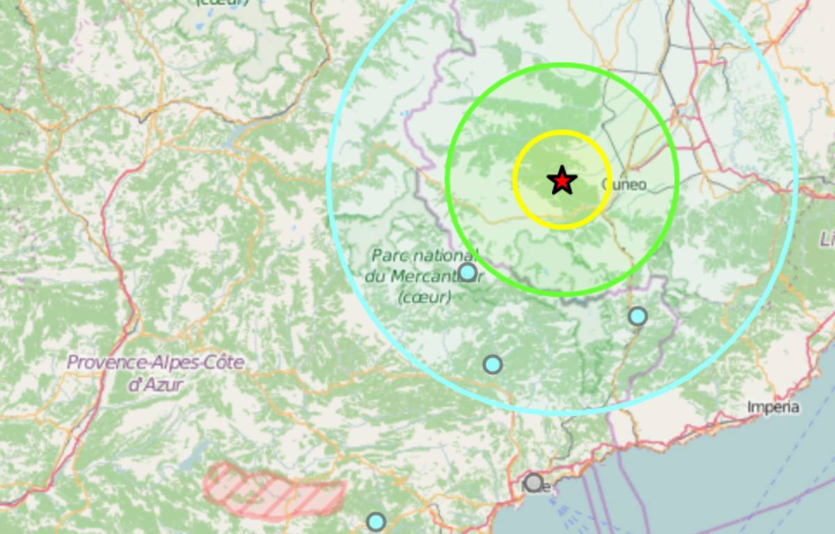 L'onde du séisme a touché les Alpes-Maritimes.  – Bureau central de sismologie français
