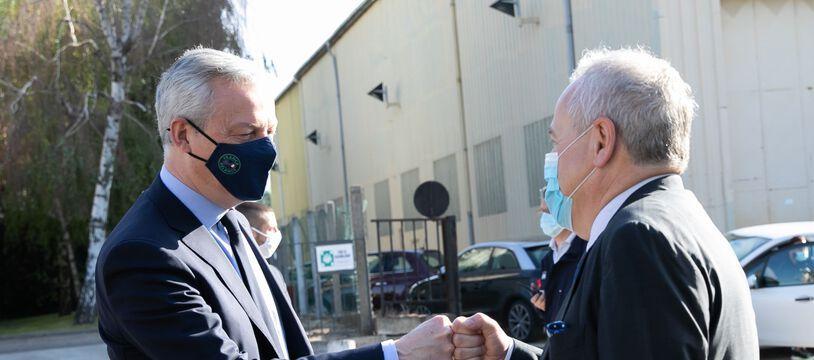 Rencontre de Bruno Berthet President de Rafaut et Bruno Le Maire dans le cadre de France Relance.
