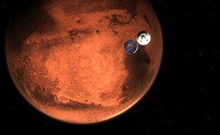 Image de synthèse de la Nasa simulant l'arrivée sur Mars de la mission Mars 2020 et de son rover Perseverance.