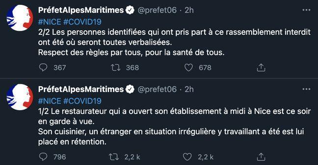 Le tweet de la préfecture des Alpes-Maritimes