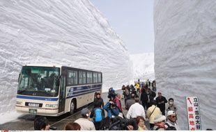 Yuki no otani, la «grande vallée de neige» flanquée de murs de neige qui peuvent atteindre 15m de haut, sur la route alpine de Tateyama Kurobe, au Japon, le 16 avril 2014.
