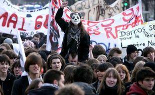 Manifestation de lycéens à Paris, le 15 janvier 2009.