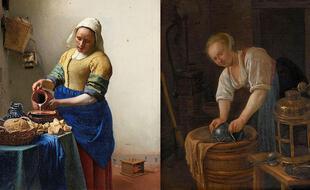Deux tableaux réalisés vers 1660 dont les bleus outremer contrastent : « La laitière » de Johannes Vermeer à gauche et « La femme récurant une bassine en métal » de Jan Steen à droite.