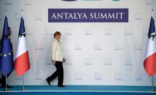 La chancelière allemande Angela Merkel, le 16 novembre 2015 au sommet du G20 d'Antalya en Turquie