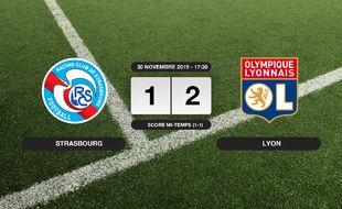 Ligue 1, 15ème journée: L'OL bat le RC Strasbourg 1-2 à l'extérieur
