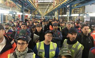 Les salariés d'Alstom à Reichshoffen le 4 octobre 2019.