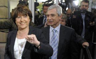 Le premier secrétaire du parti socialiste, Martin Aubry, au soir du 2nd tour des régionales, le 21 mars 2010
