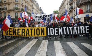 Une manifestation de Génération identitaire, un groupuscule d'extrême droite.