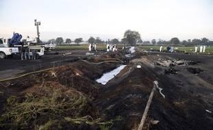 L'explosion d'un oléoduc au Mexique, qui a fait au moins 107 morts, a laissé un véritable cratère, le 19 janvier 2019.
