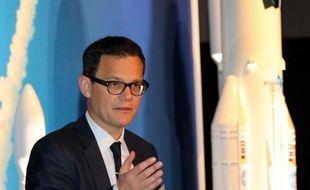 Le PDG d'Arianespace à Tokyo, le 9 avril 2015
