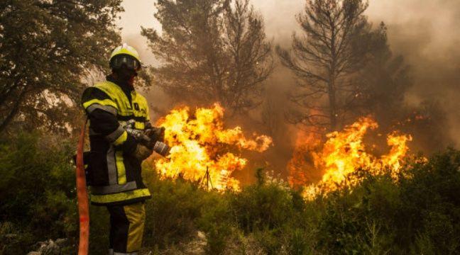 Les sapeurs-pompiers luttent contre le feu de Saint-Chamas, dans les Bouches-du-Rhône.  –  LILIAN AUFFRET/SIPA