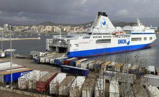 Un ferry de l'ex-SNCM, le 10 janvier 2016 à Ajaccio