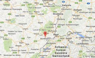 Google Map de la ville de Montbéliard, dans le Doubs