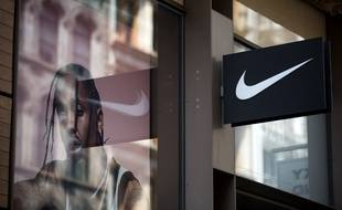 Illustration du logo de l'équipementier sportif américain Nike, le 15 juin 2017 à New York, Etats-Unis